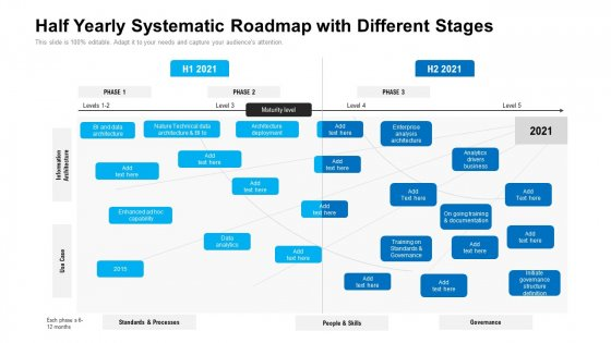 Half Yearly Systematic Roadmap With Different Stages Diagrams