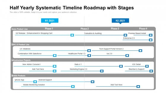 Half Yearly Systematic Timeline Roadmap With Stages Ideas
