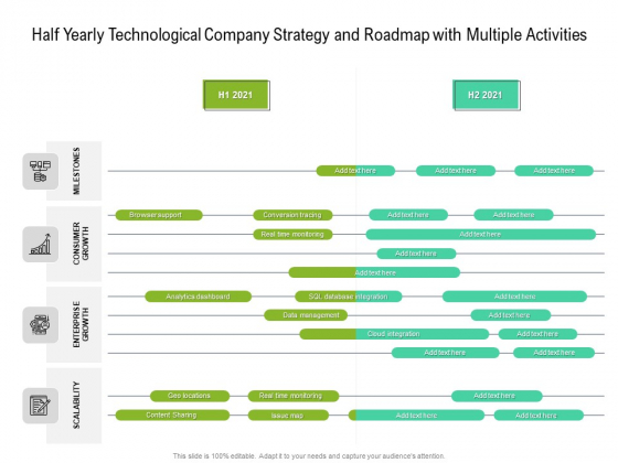 Half Yearly Technological Company Strategy And Roadmap With Multiple Activities Icons
