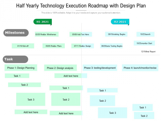 Half Yearly Technology Execution Roadmap With Design Plan Slides