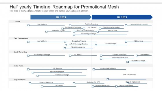 Half Yearly Timeline Roadmap For Promotional Mesh Summary