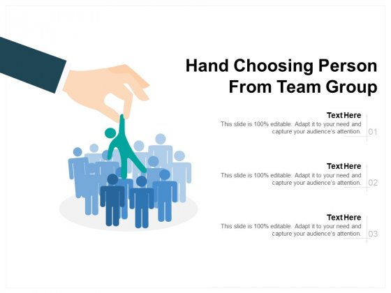 Hand Choosing Person From Team Group Ppt PowerPoint Presentation Professional Graphic Images PDF
