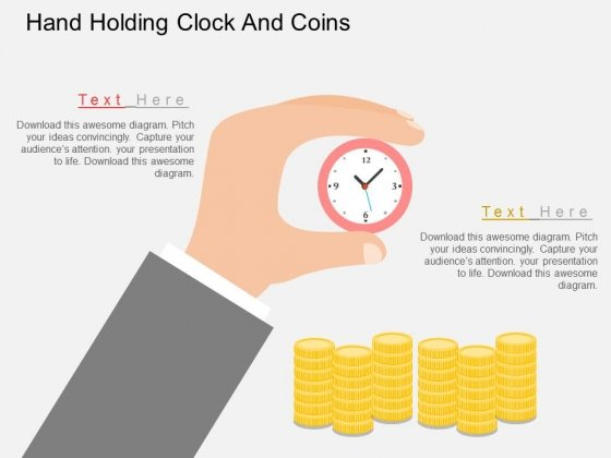 Hand Holding Clock And Coins Powerpoint Template
