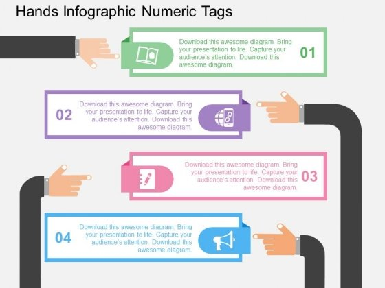 Hands Infographic Numeric Tags Powerpoint Templates