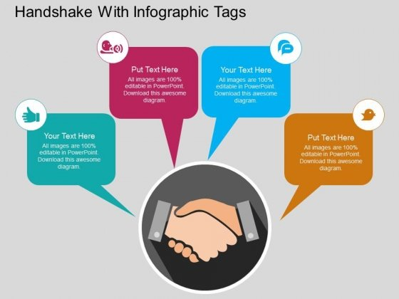 Handshake With Infographic Tags Powerpoint Templates