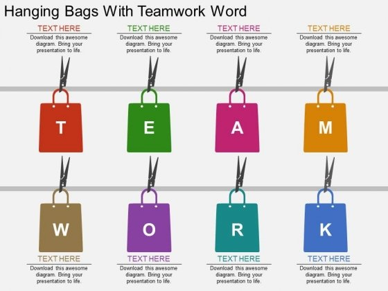 Hanging Bags With Teamwork Word Powerpoint Template