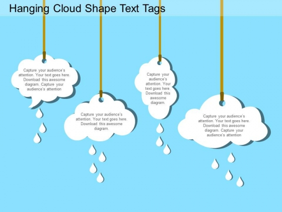 hanging cloud shape text tags powerpoint templates - powerpoint, Modern powerpoint