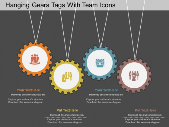 Hanging Gears Tags With Team Icons PowerPoint Template