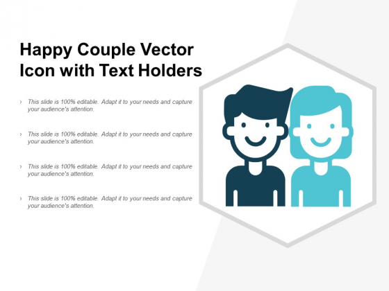 Happy Couple Vector Icon With Text Holders Ppt PowerPoint Presentation Ideas Professional