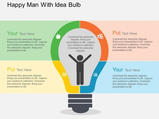 Happy Man With Idea Bulb Powerpoint Templates