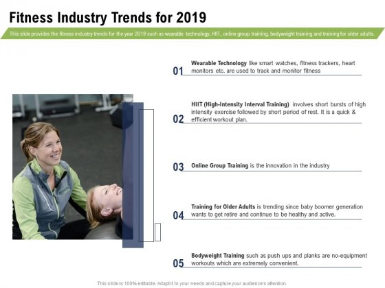 Health And Fitness Consultant Fitness Industry Trends For 2019 Infographics PDF