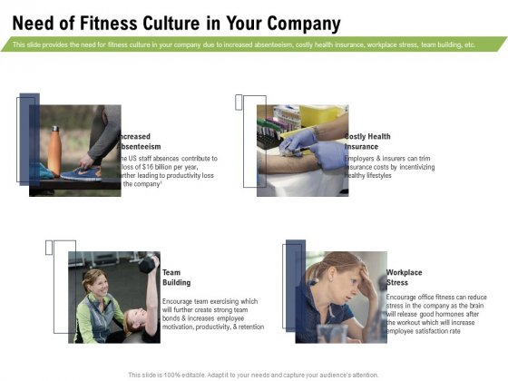 Health And Fitness Consultant Need Of Fitness Culture In Your Company Graphics PDF