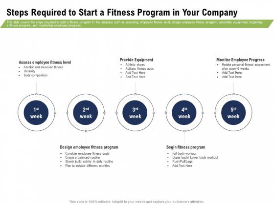 Health And Fitness Consultant Steps Required To Start A Fitness Program In Your Company Mockup PDF