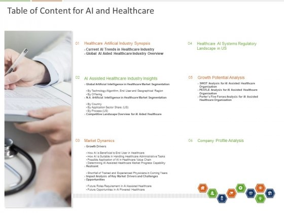 Healthcare Industry Impact Artificial Intelligence Table Of Content For AI And Healthcare Ppt Styles Demonstration PDF