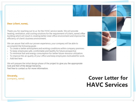 Heating Ventilation And Air Conditioning Installation Cover Letter For HAVC Services Ppt Professional Background PDF