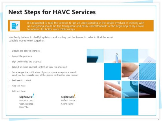 Heating Ventilation And Air Conditioning Installation Next Steps For HAVC Services Ppt Inspiration Brochure PDF