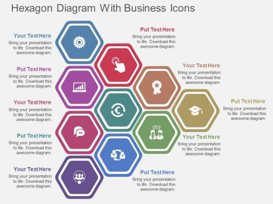 Hexagon Diagram With Business Icons Powerpoint Template