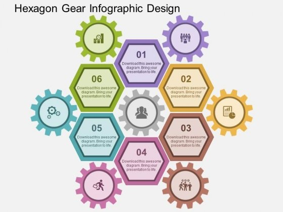 Hexagon Gear Infographic Design Powerpoint Templates