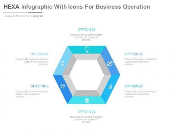 Hexagon Infographic For Six Options Display Powerpoint Template