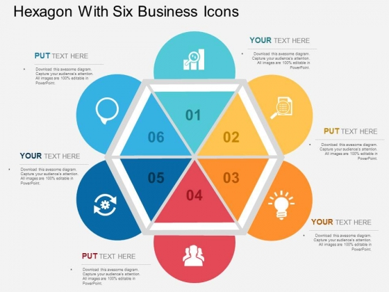 Hexagon With Six Business Icons Powerpoint Templates