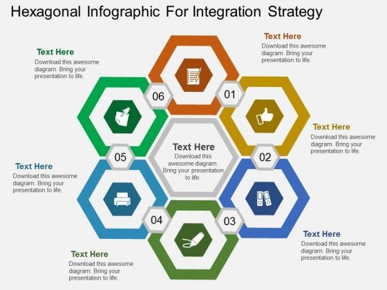 Hexagonal Infographic For Integration Strategy Powerpoint Template