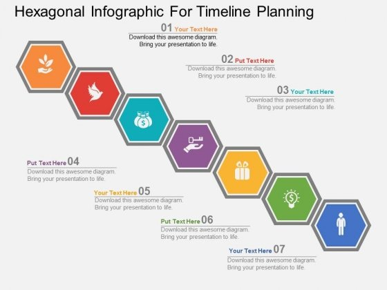 Hexagonal Infographic For Timeline Planning Powerpoint Template