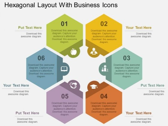 Hexagonal Layout With Business Icons Powerpoint Templates