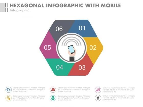 Hexagonal Steps For Mobile Communication Powerpoint Slides