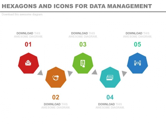 Hexagons And Icons For Business Segmentation Powerpoint Template