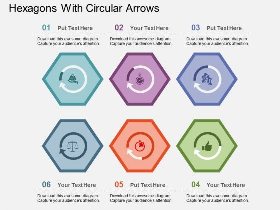 Hexagons With Circular Arrows Powerpoint Templates
