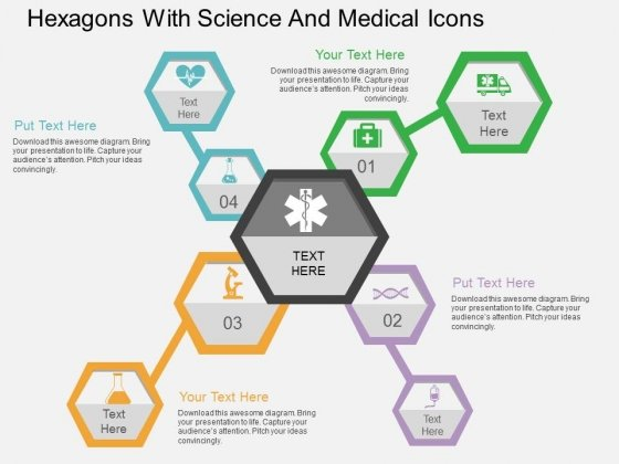 Hexagons With Science And Medical Icons Powerpoint Templates