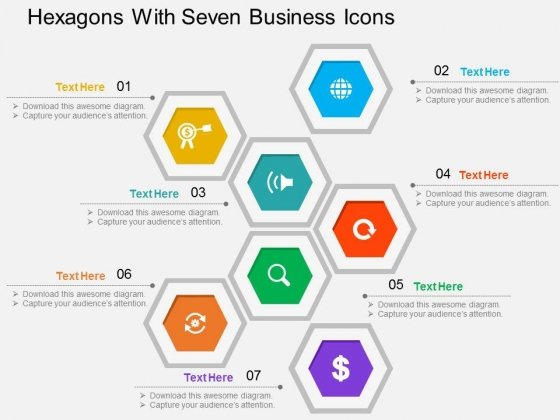 Hexagons With Seven Business Icons Powerpoint Templates