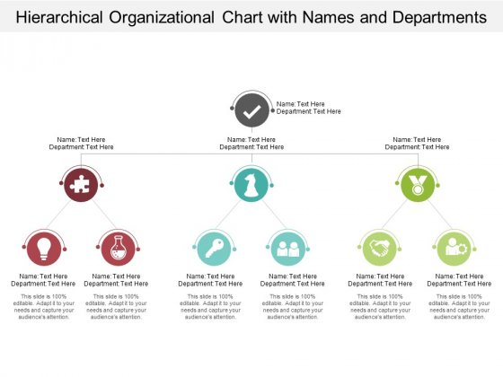 Hierarchical Organizational Chart With Names And Departments Ppt PowerPoint Presentation Infographics Background