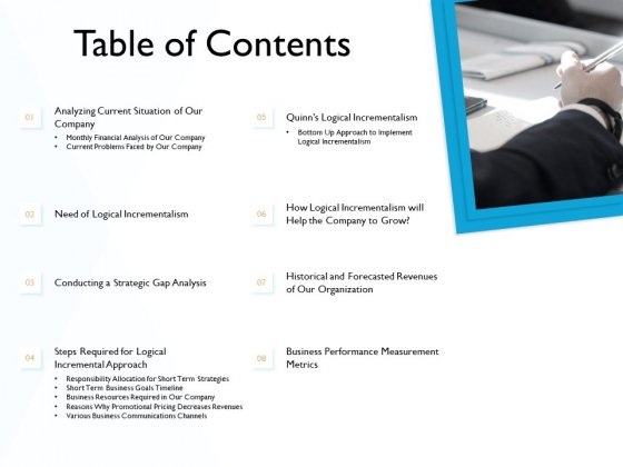 Hit And Trial Approach Table Of Contents Ppt Inspiration Templates PDF