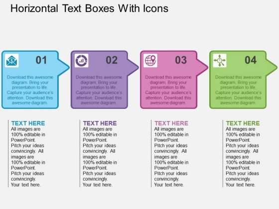Horizontal Text Boxes With Icons Powerpoint Templates