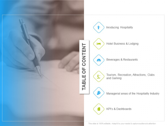 Hotel And Tourism Planning Table Of Content Mockup PDF