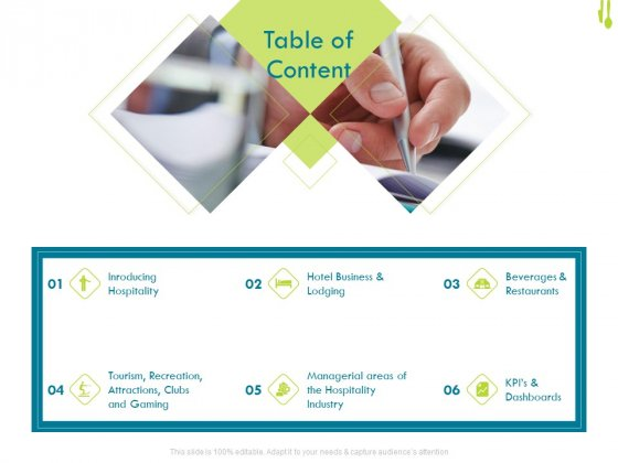 Hotel Management Plan Table Of Content Background PDF