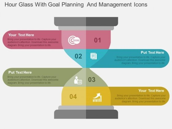 Hour Glass With Goal Planning And Management Icons Powerpoint Templates