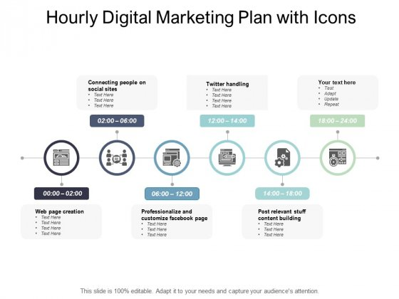 Hourly Digital Marketing Plan With Icons Ppt PowerPoint Presentation File Guidelines