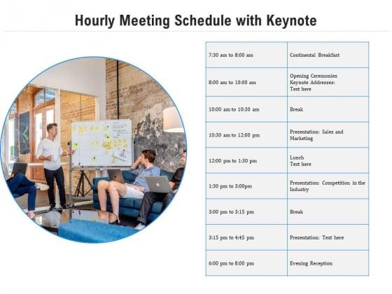 Hourly Meeting Schedule With Keynote Ppt PowerPoint Presentation Icon Portfolio PDF