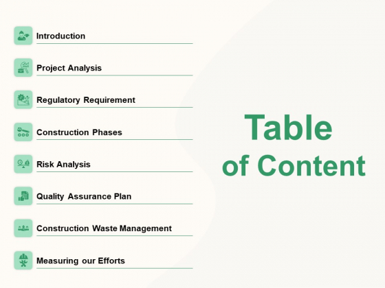 How To Effectively Manage A Construction Project Table Of Content Diagrams PDF