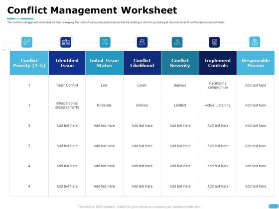How To Resolve Worksite Disputes Conflict Management Worksheet Download PDF