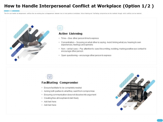 How To Resolve Worksite Disputes How To Handle Interpersonal Conflict At Workplace Ensuring Guidelines PDF