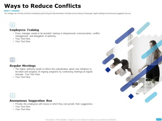 How To Resolve Worksite Disputes Ways To Reduce Conflicts Ppt Portfolio Styles PDF