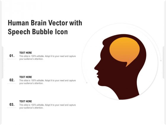Human Brain Vector With Speech Bubble Icon Ppt PowerPoint Presentation Show Backgrounds