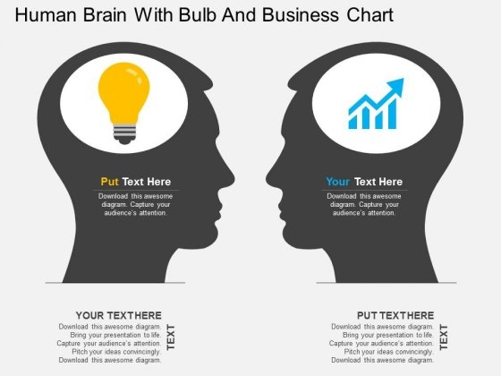 Human Brain With Bulb And Business Chart Powerpoint Template