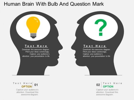 Human Brain With Bulb And Question Mark Powerpoint Template