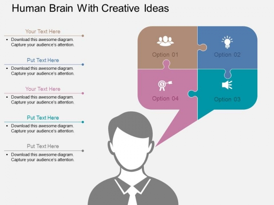 Human Brain With Creative Ideas Powerpoint Templates