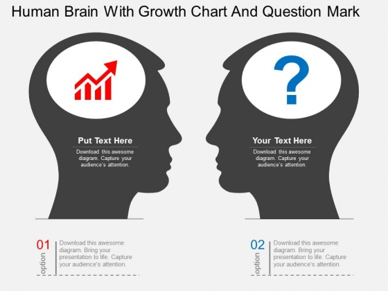 Human Brain With Growth Chart And Question Mark Powerpoint Template