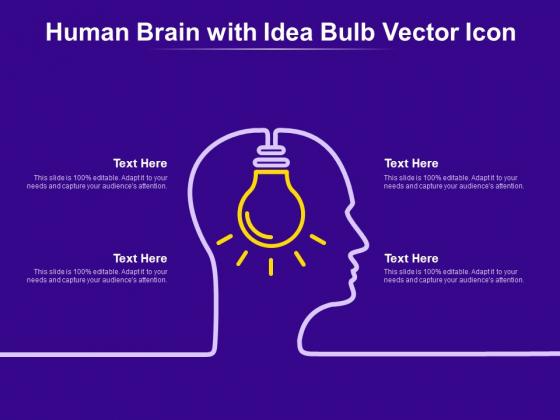 Human Brain With Idea Bulb Vector Icon Ppt PowerPoint Presentation Show Slide Portrait